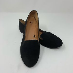 H&M Suede Black Loafers Flat